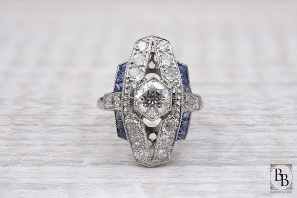 Bague Art Deco diamants saphirs