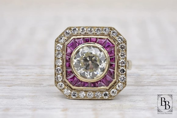 Bague rubis diamants Art Deco