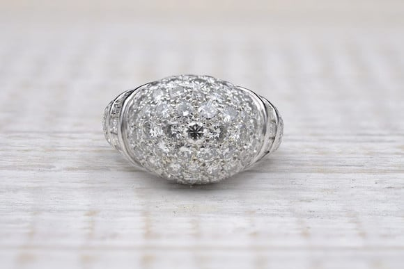 Bague boule diamants