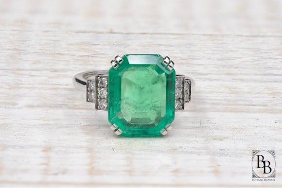 Bague émeraude et diamants Art Deco
