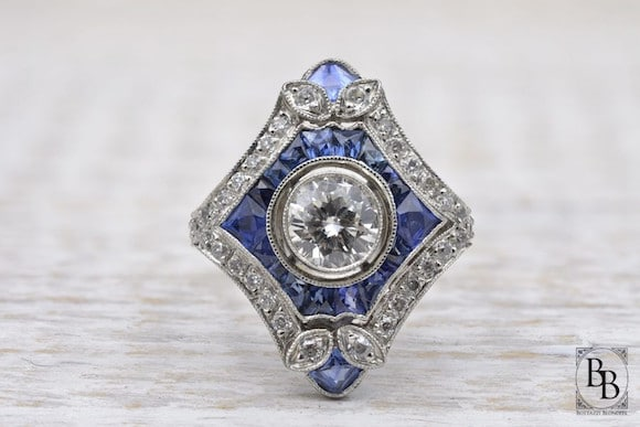 Bague saphir diamants Art Deco