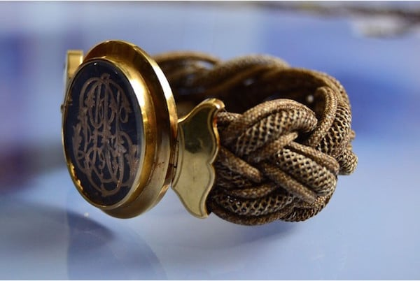 Bracelet Napolen III or 18k et cheveux, bracelet d'occasion, bracelets anciens