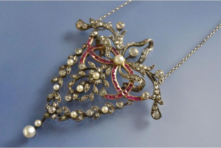 Pendentif Napoleon III diamants et rubis, pendentif ancien pendentif d'occasion