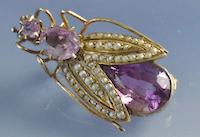 Broche insecte améthyste et perles fines, bijoux anciens paris, bijouterie Bottazzi Blondeel