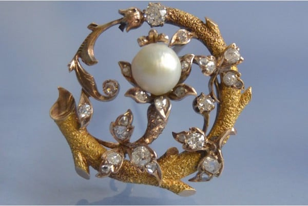 Broche ancienne 19e perle et diamants, bijoux anciens d'occasion