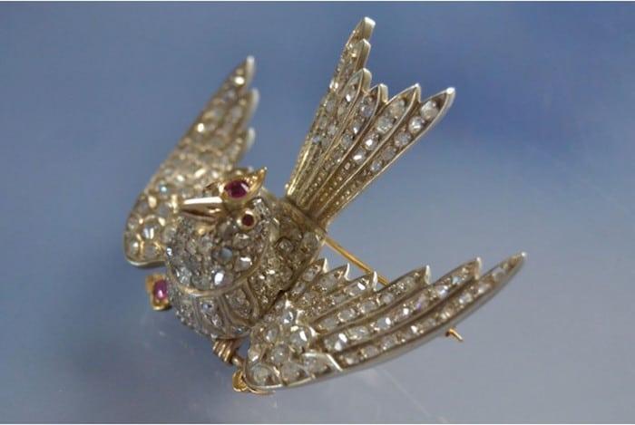 Broche Oiseau diamants époque 1900, bijouterie bijoux anciens