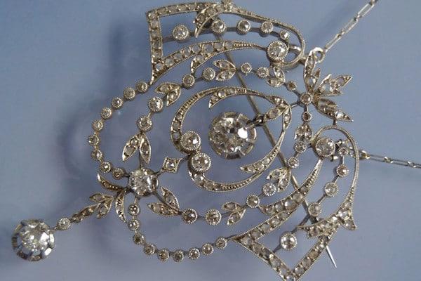 Broche Pendentif diamants fin 19e siècle, bijoux anciens d'occasion