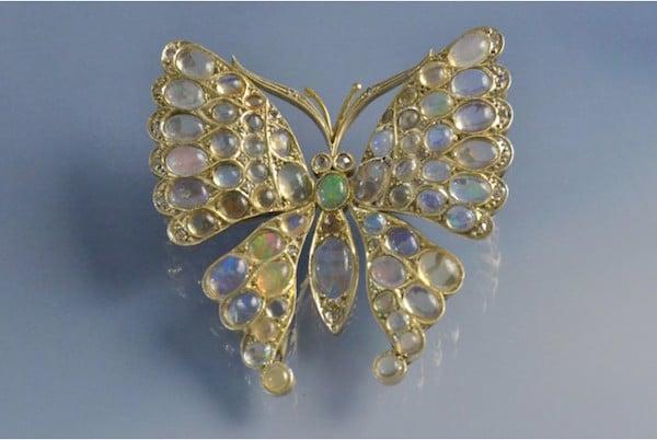 Papillon 19e siècle opales en or 18k, bijoux anciens, bijoux d'occasion