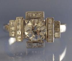achat bijoux anciens, bague Art Deco diamants