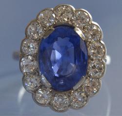achat bijoux d'occasion, bague saphir diamants