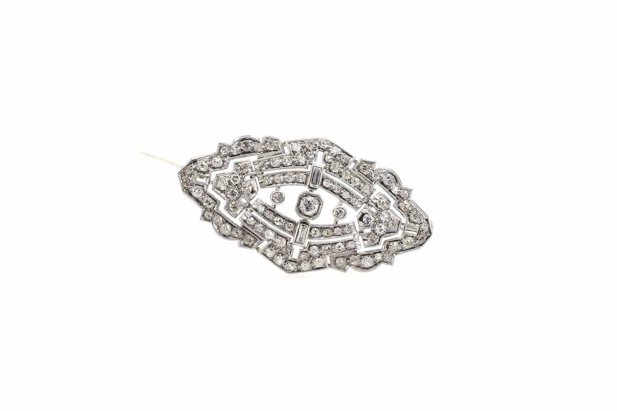 broche art déco platine diamants