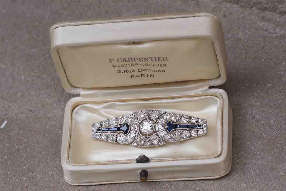 broche art déco diamants en platine