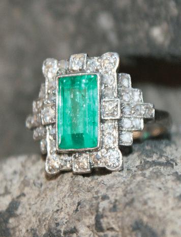Bague ancienne diamants et émeraude, bague ancienne d'occasion