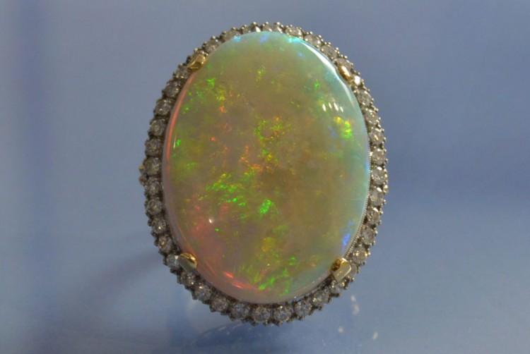 Bague opale et diamants, bague ancienne, bague d'occasion, bijoux anciens