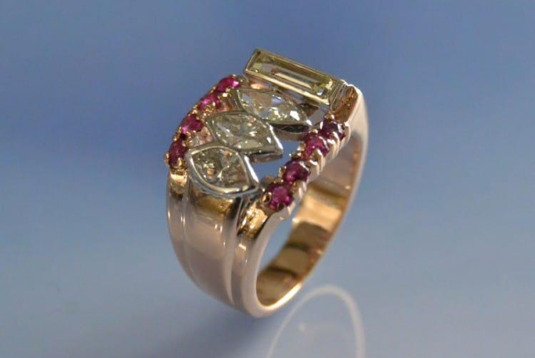 Bague diamants et rubis Tank, bijoux 40, bagues tank