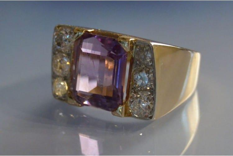 Bague Tank améthyste et diamants, bijoux anciens