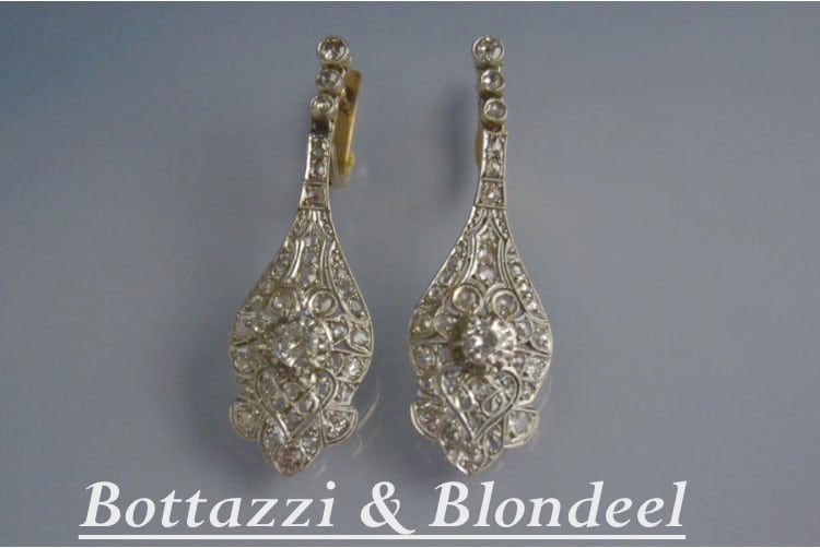boucles d'oreilles diamants art déco