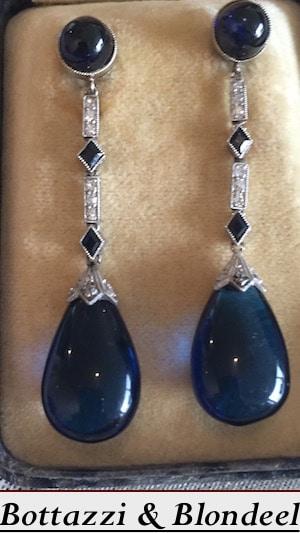 Boucles d'oreilles art deco saphirs diamants