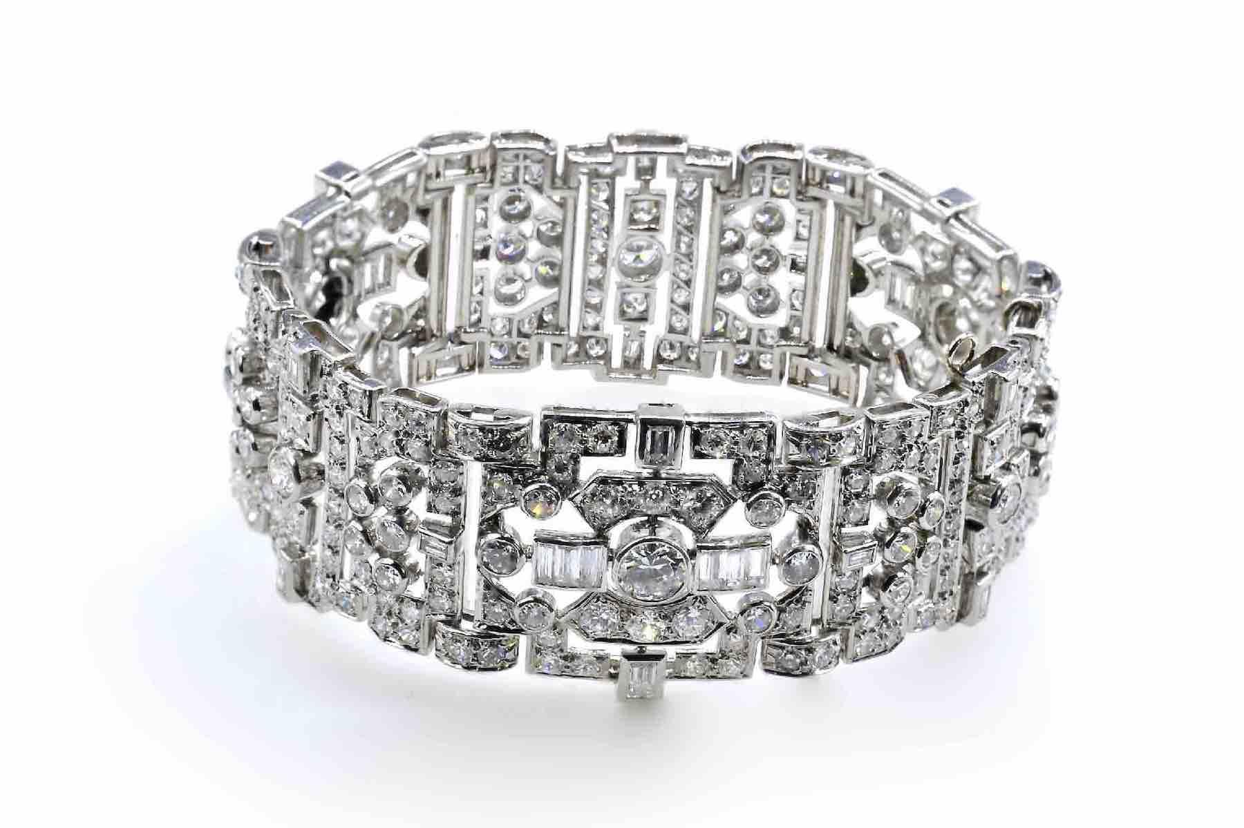 bracelet ancien or blanc 18k tout diamants