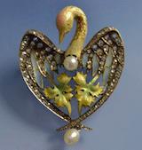 Broche pendentif art nouveau, broche ancienne émail