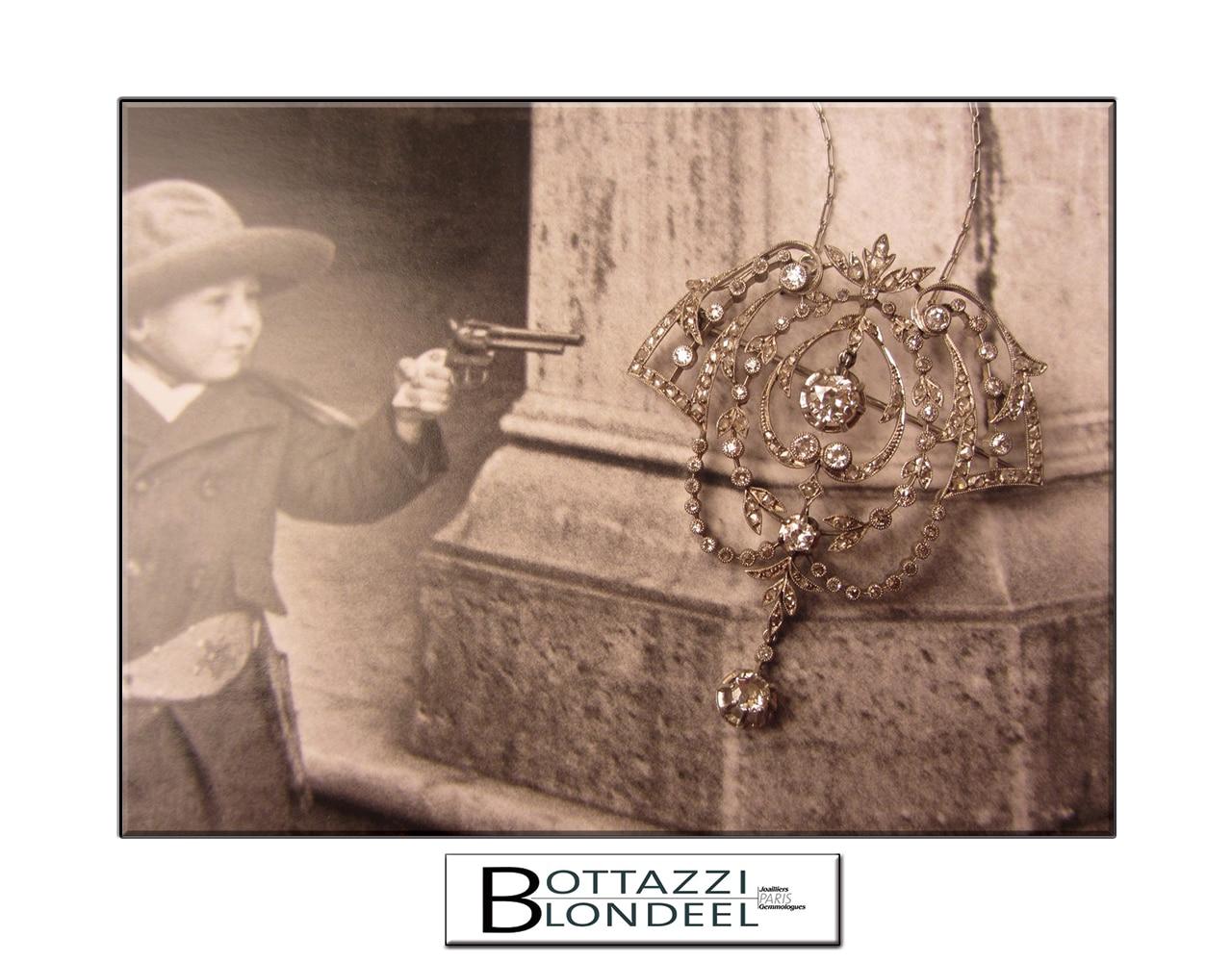 Bijoux anciens diamants d'époque 1900 en platine