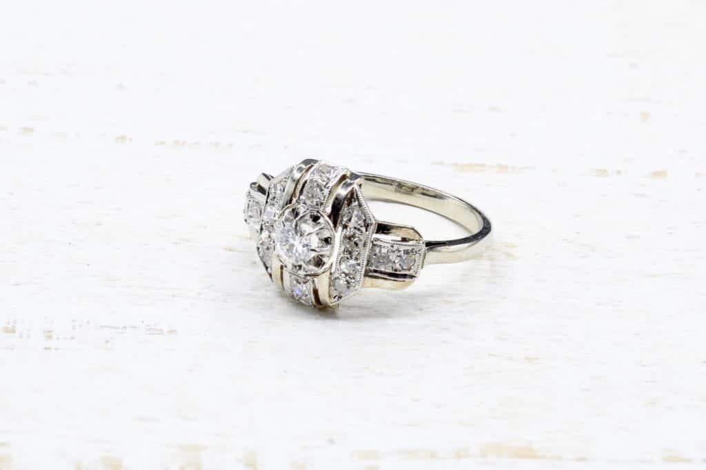 Sehr Bague Art Deco sertie diamants, bague ancienne 1930 | Bague vendue XL58