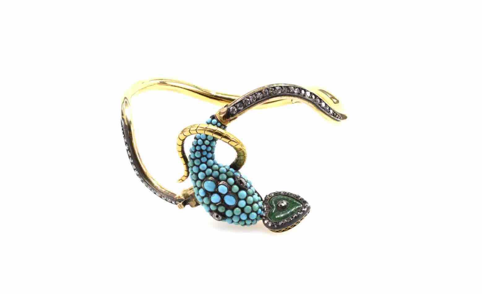 achat Bracelet 19e serpent turquoises et coeur