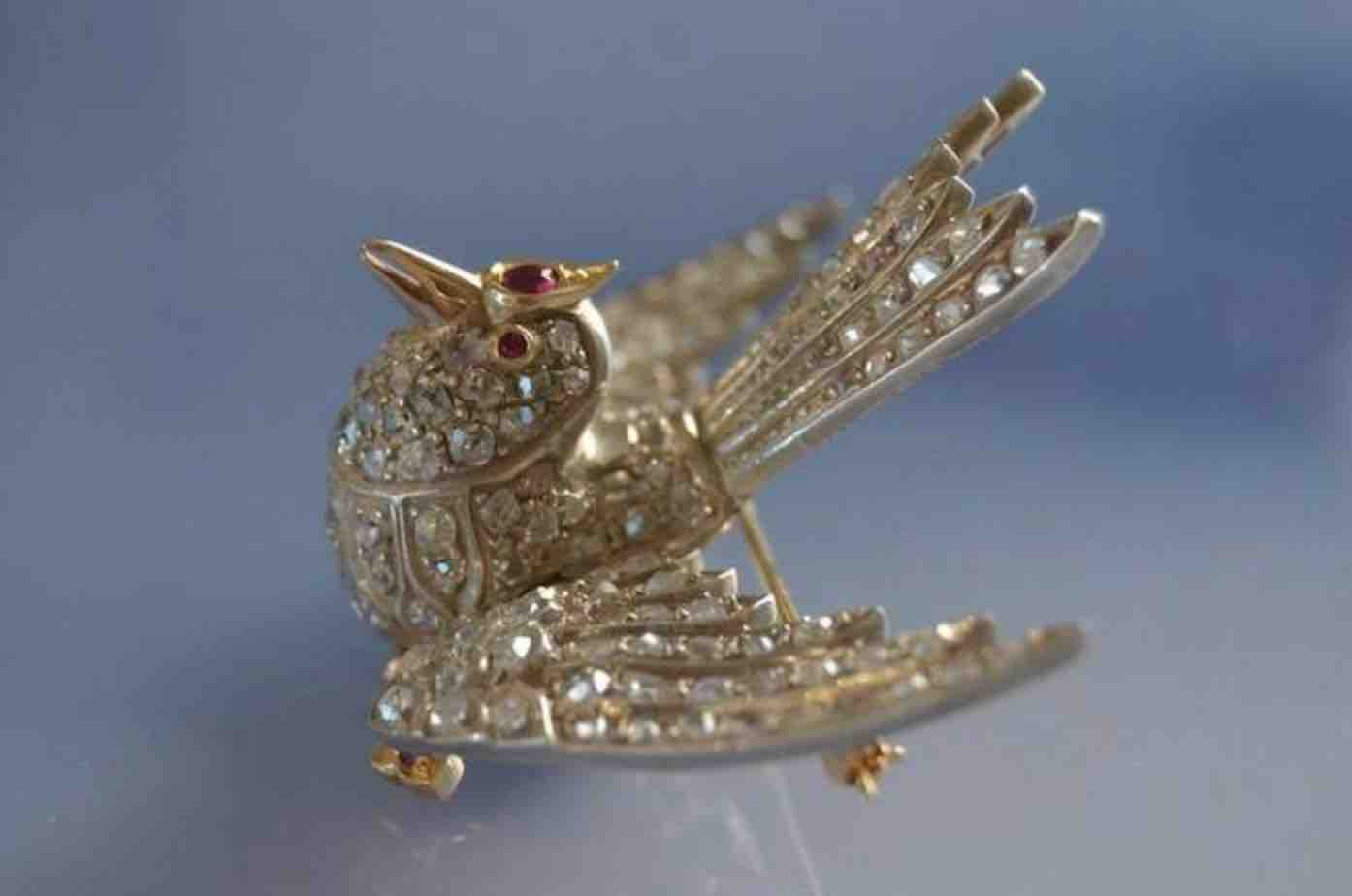 achat Broche oiseau 19eme diamants et rubis