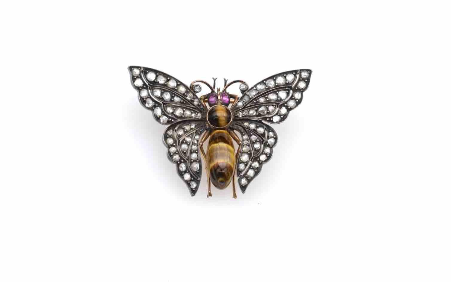 Broche ancienne papillon 19e