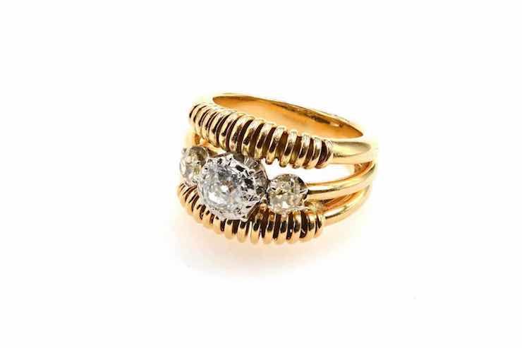 bague vintage diamants et or