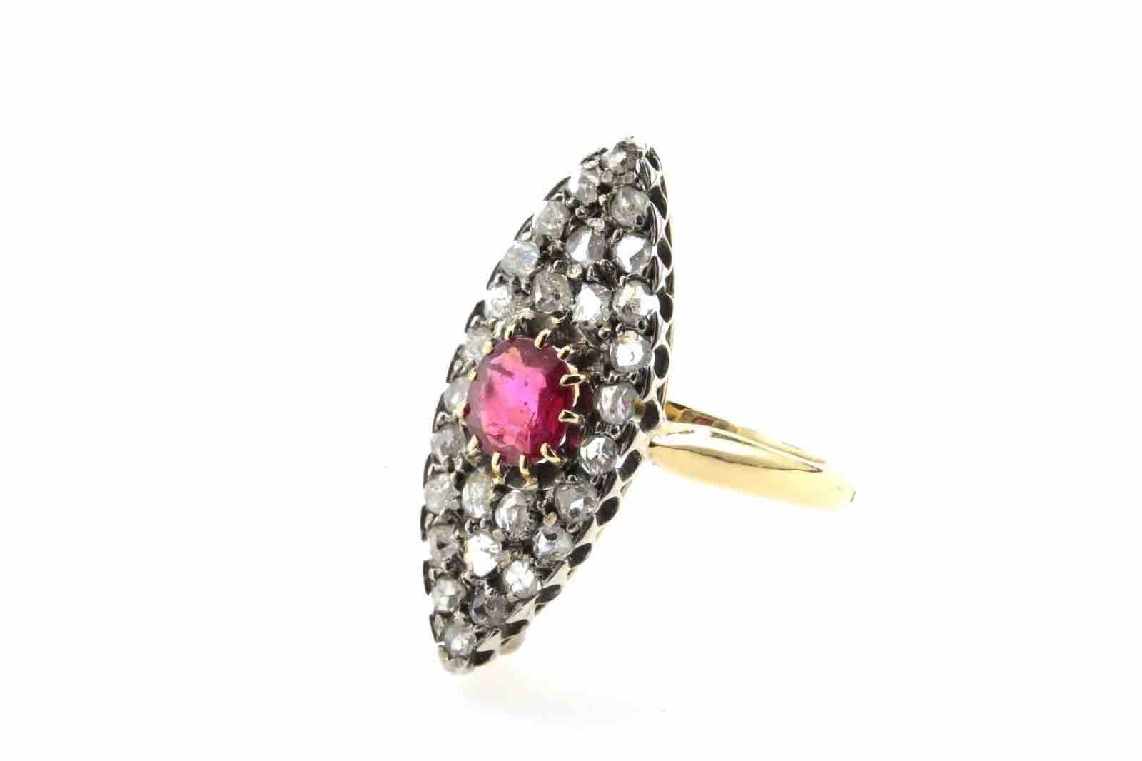 revendre achat bague 19e rubis et diamants