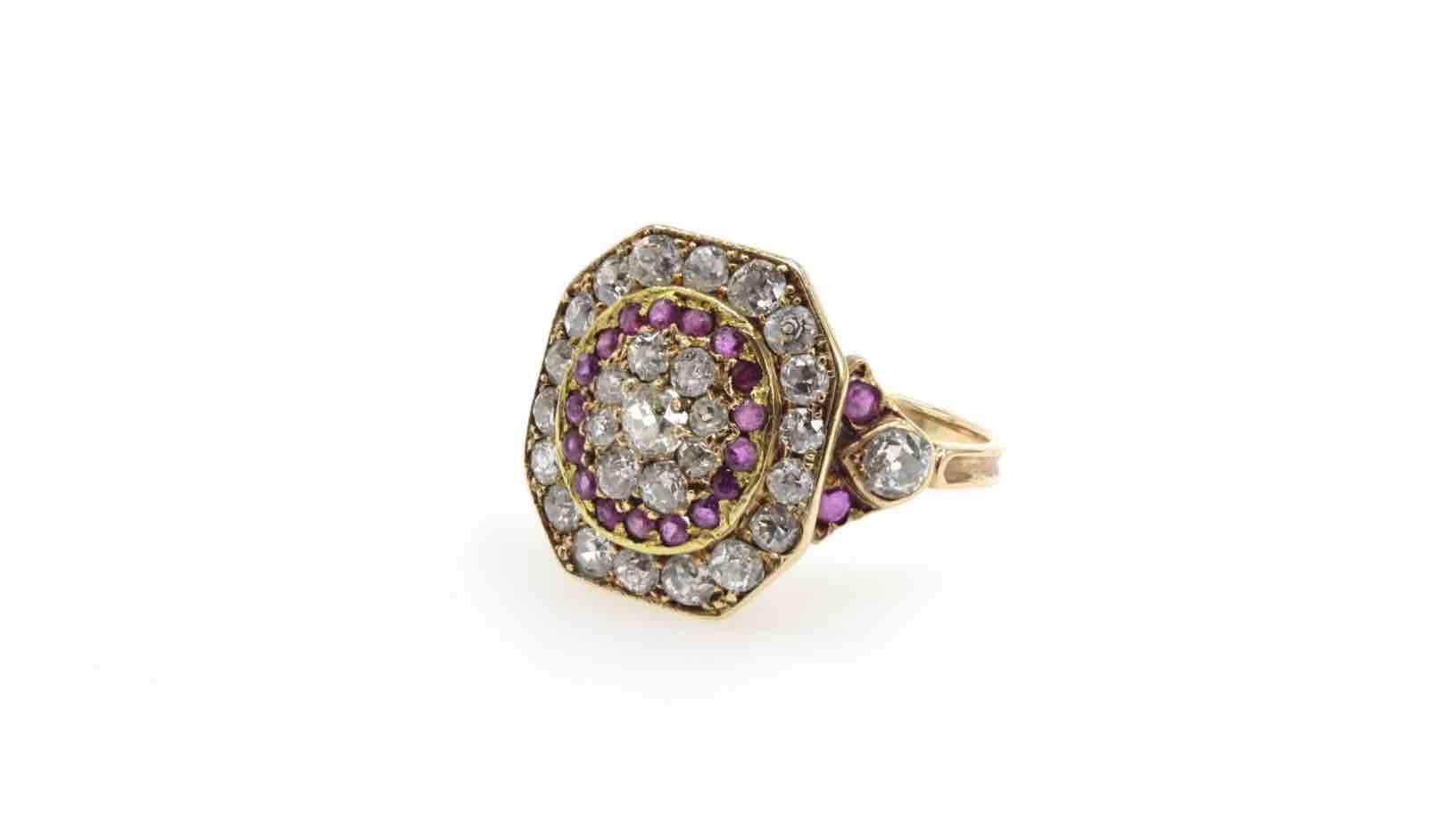achat bague 19e diamants rubis