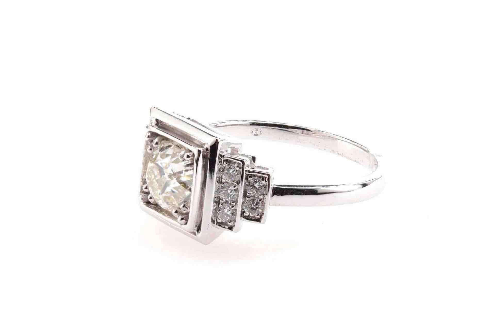 bague diamants carrée