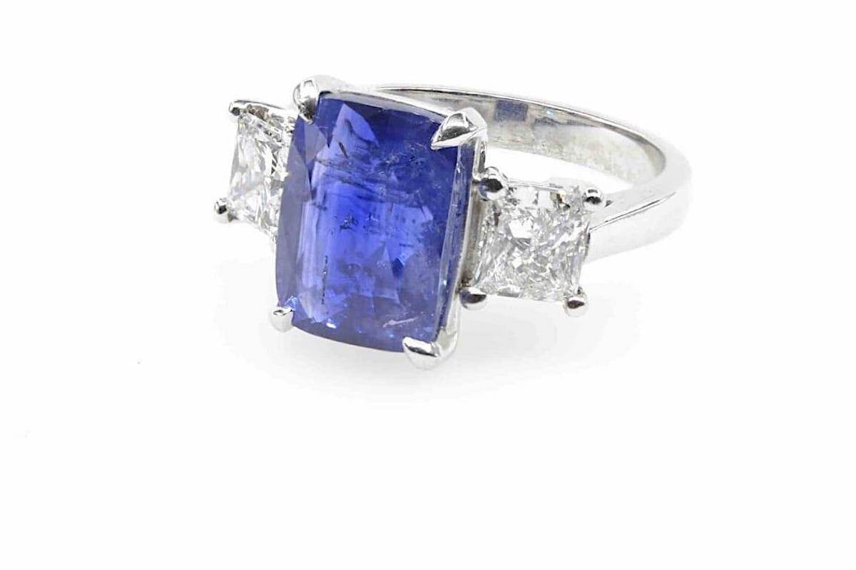 bague mariage saphir diamants