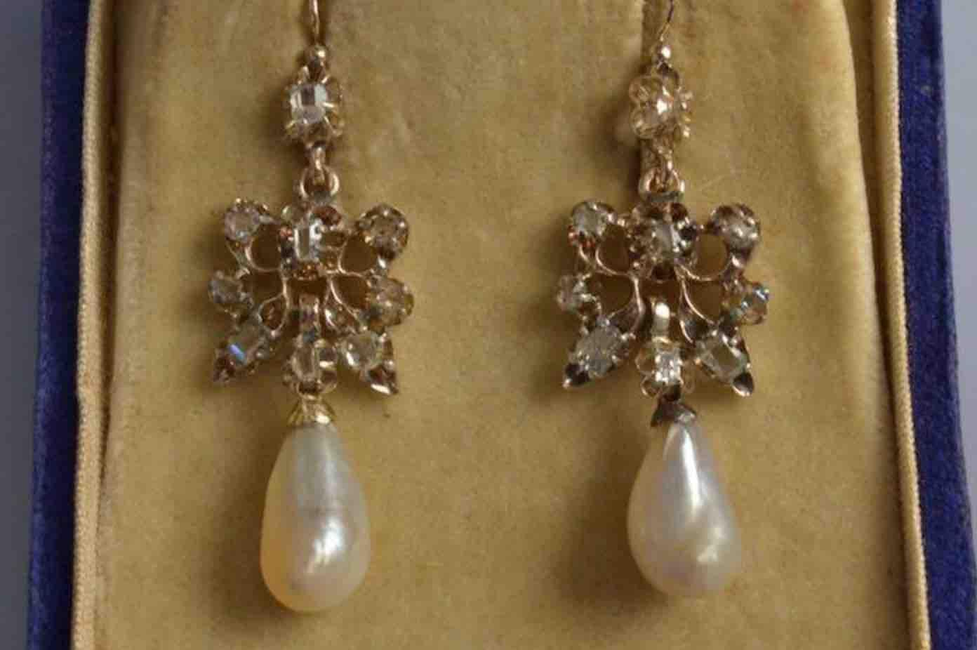 achat boucles d'oreilles 19eme perles diamants