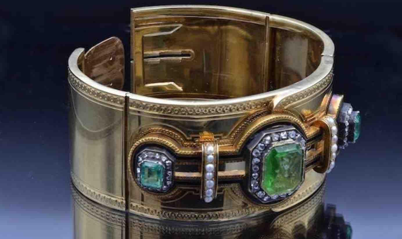 bracelet 19e emeraude