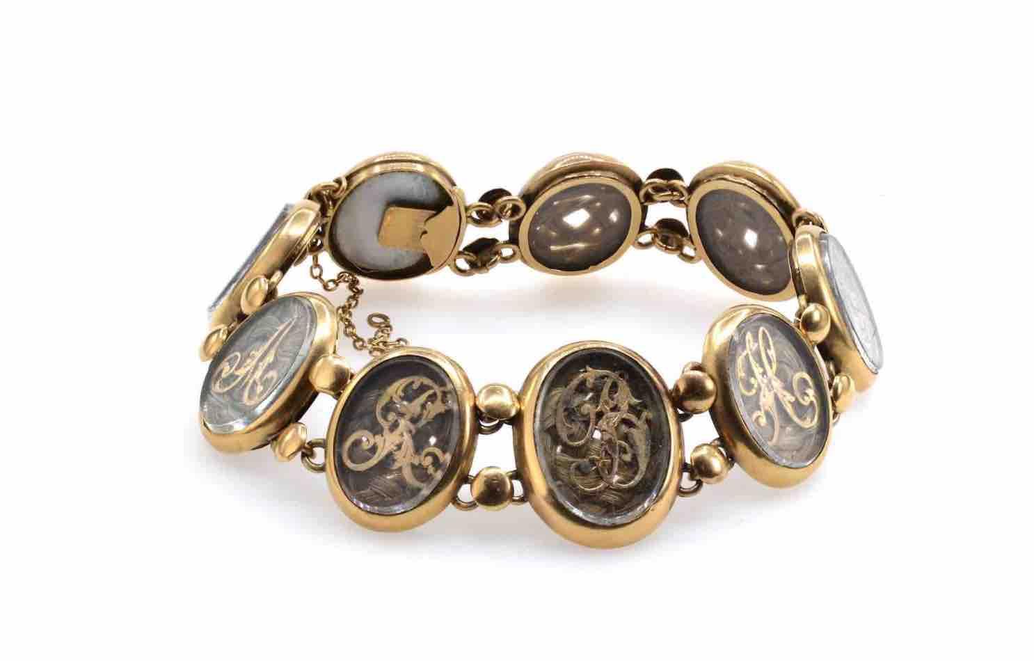 bracelet cheveux ancien art nouveau