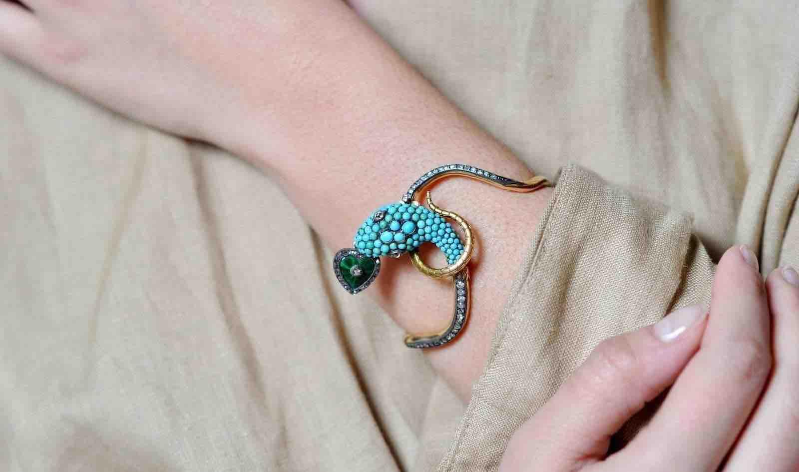 bracelet coeur serpent 19e siecle