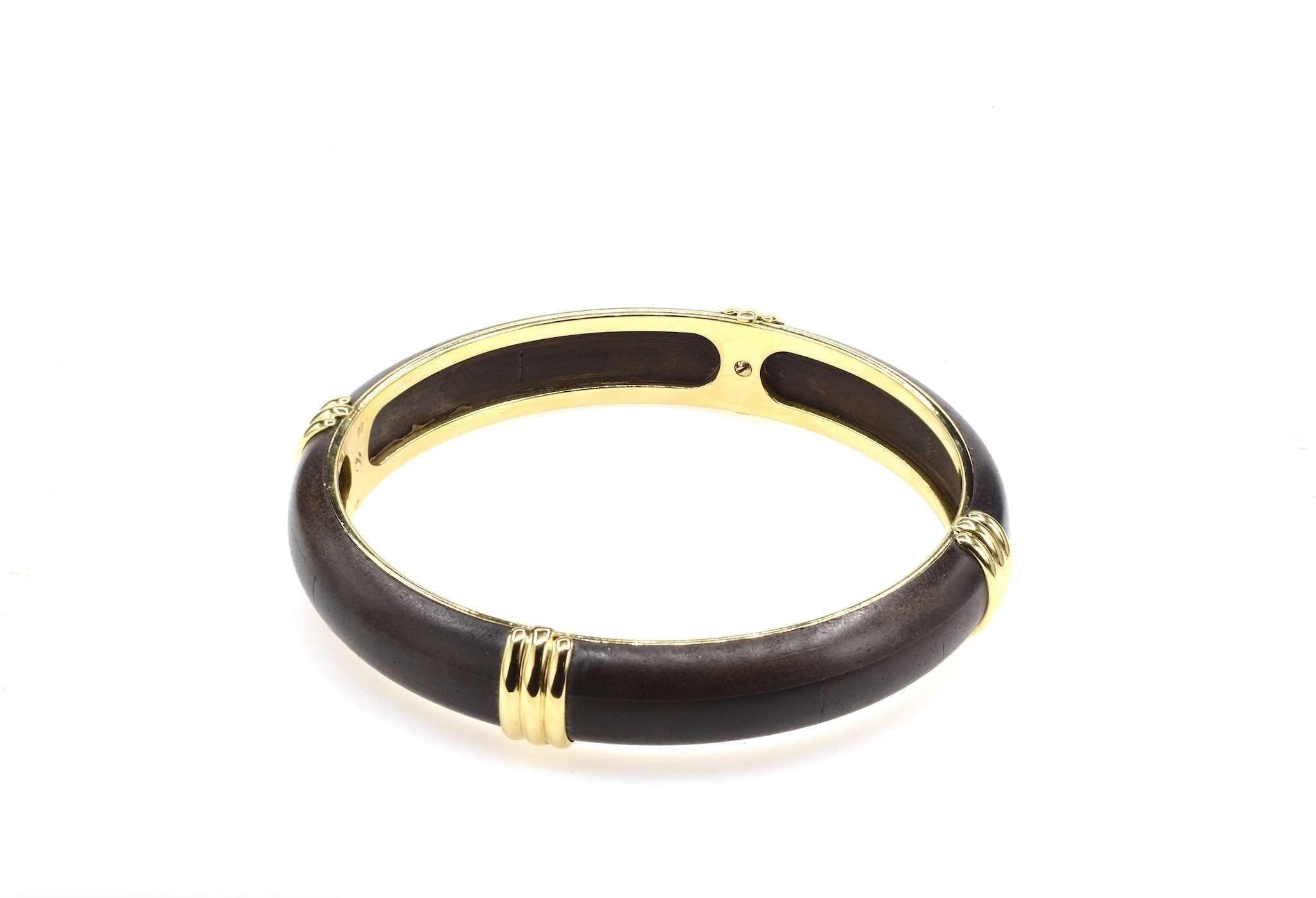 achat bracelet ancien or 18k et bois