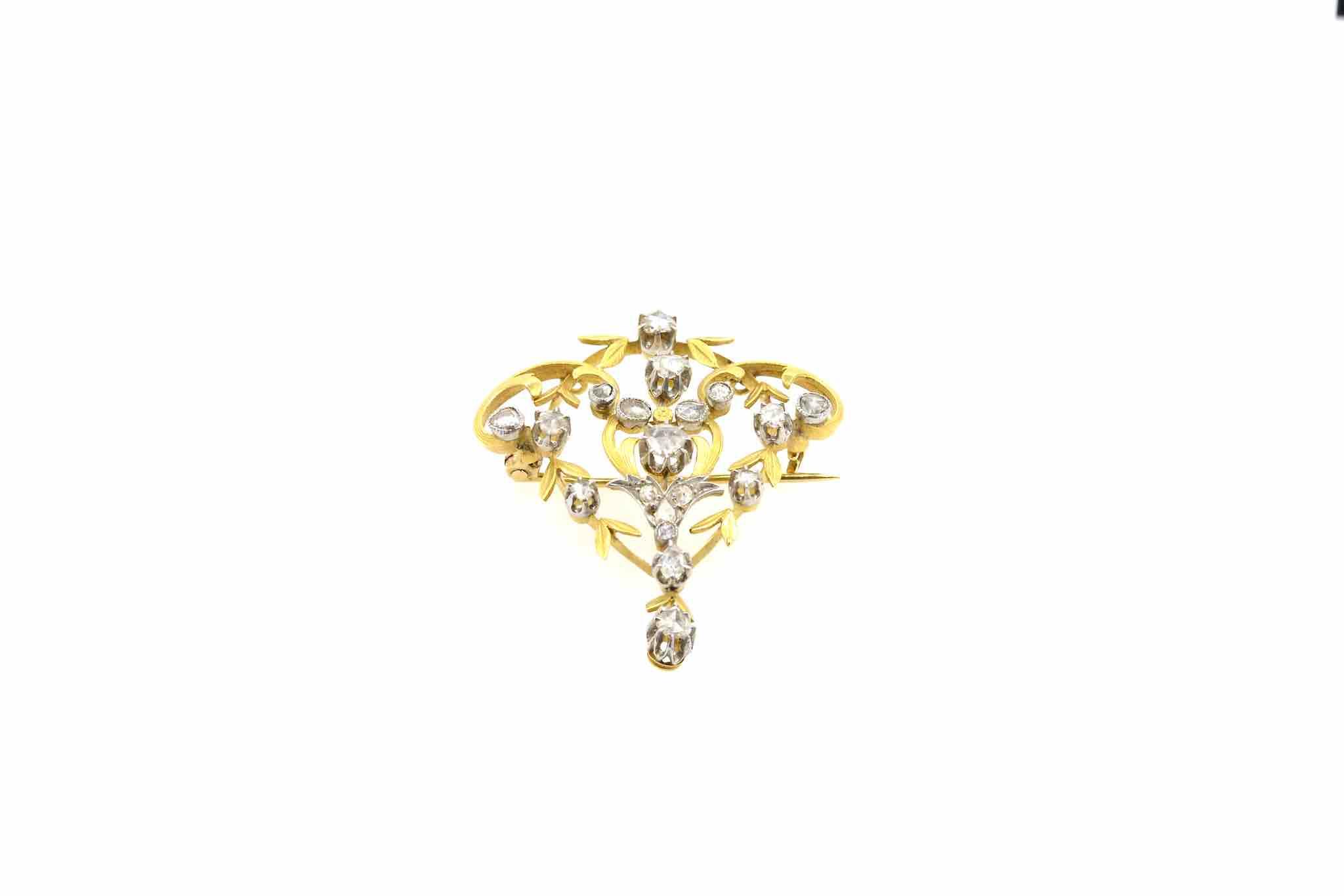 achat broche diamants art nouveau