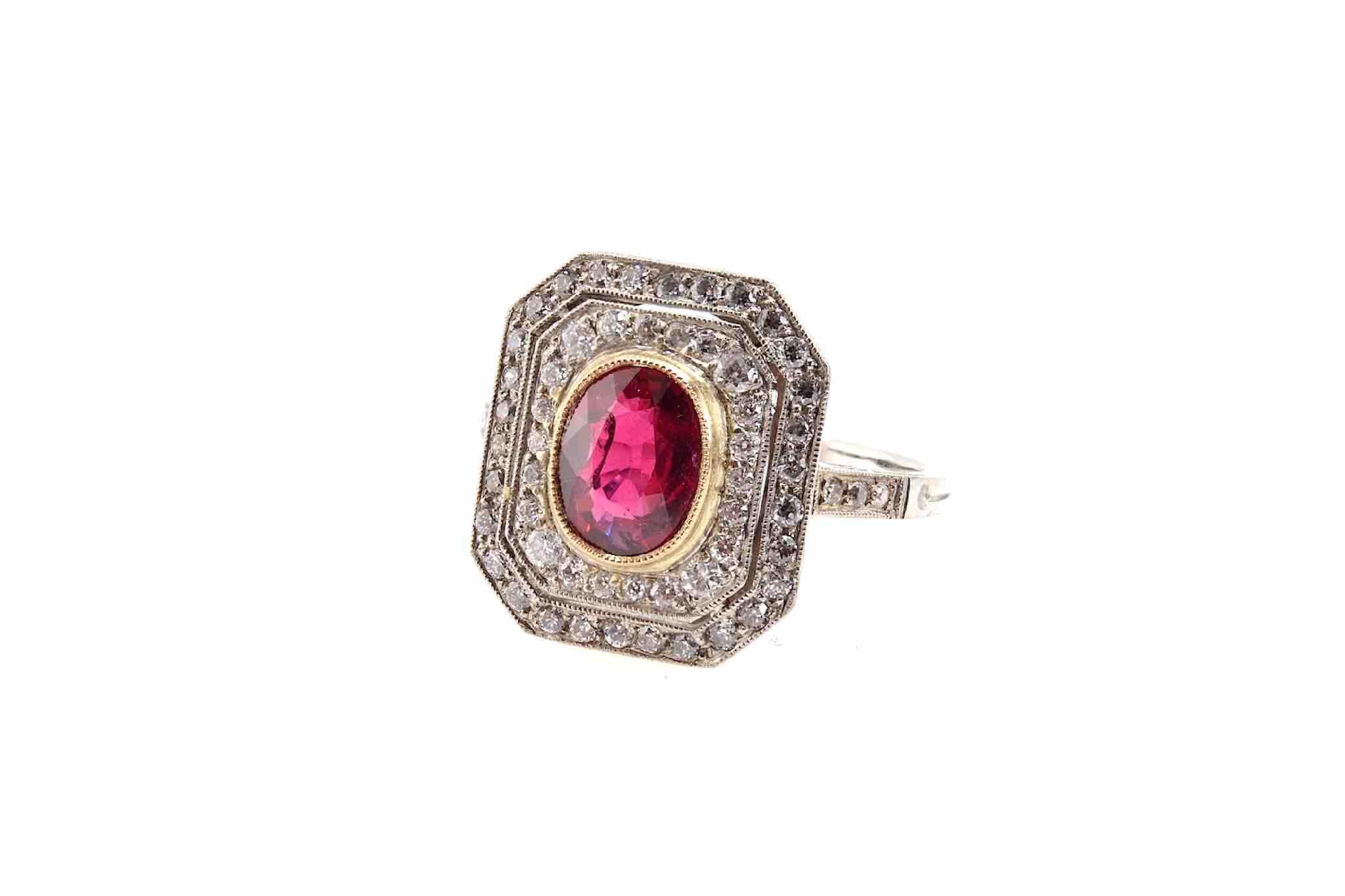 bague vintage diamants rubis