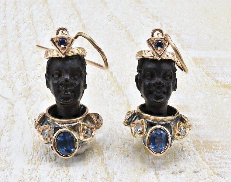 Boucles d'oreilles esclave en ébène et or jaune 9k