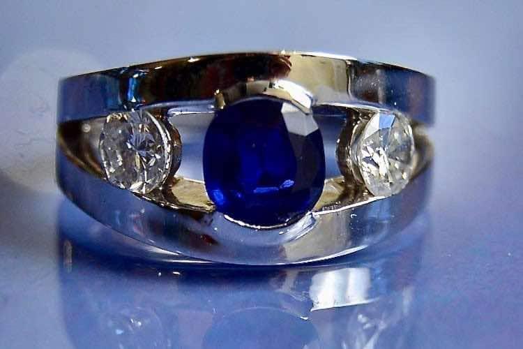 Bague saphir diamants d'occasion