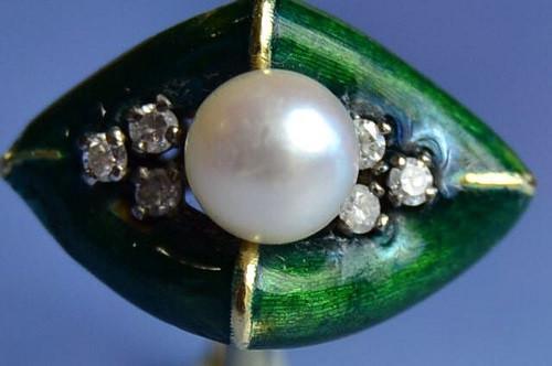 Bague 1930 émail perle de culture et diamants