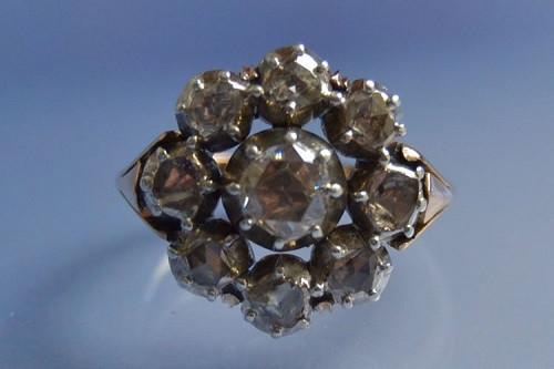 Bague 1900 or rose, argent et roses de diamants