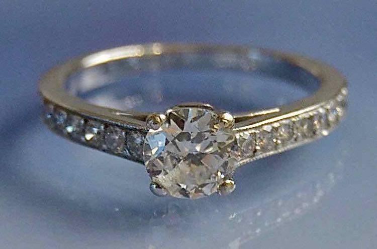 Solitaire diamant or blanc 18k