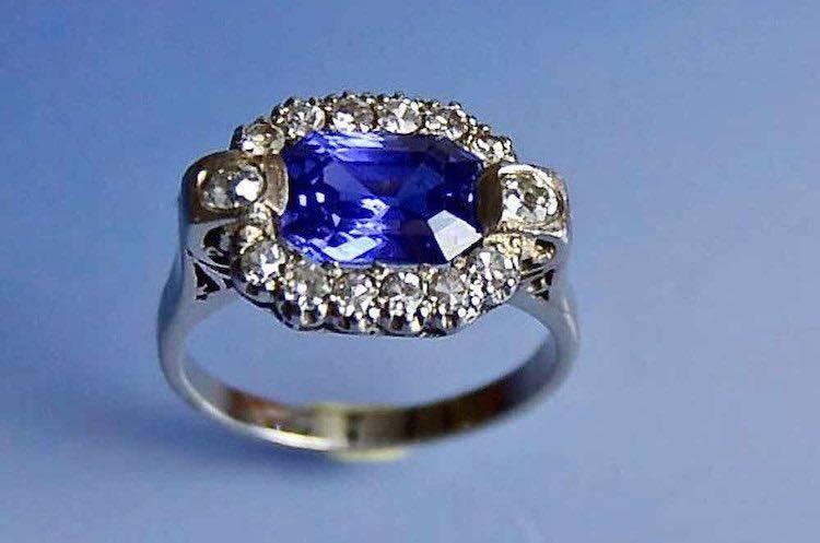 Bague art déco saphir et diamants