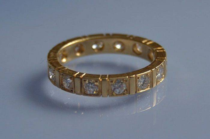 Alliance diamants taille ancienne en or jaune 18k