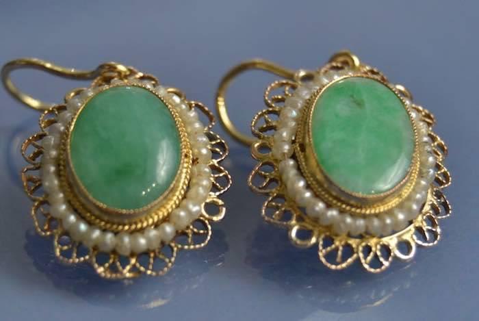 boucles d'oreilles jade et perles