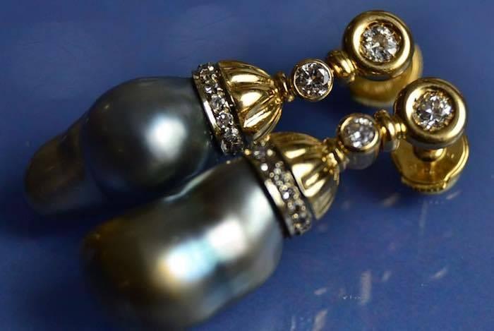 Boucles d'oreilles perles de culture de Tahiti